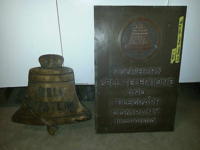 Early 1900's Southern Bell telephone & Telegraph Co. Brass building plaques RARE