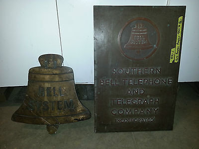 Vintage Southern Bell telephone and Telegraph Co. Inc Brass building plaques OLD