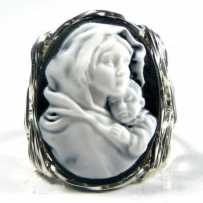 Mother Mary Jesus Cameo Ring .925 Sterling Silver Jewelry White Resin Any Size