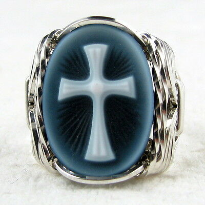 Cross Black Agate Oval Stone Cameo Ring .925 Sterling Silver Jewelry Any Size