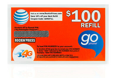 AT&T Go phone $100 Refill PIN - Physical Refill card Top Up 1 Year US Seller ATT