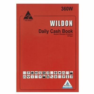 Wildon Daily Cash Book 360W Record Receipts And Expenses - WIL360