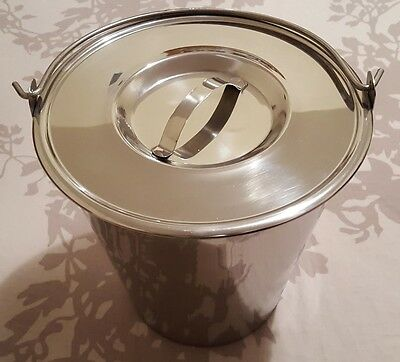 Stainless Steel Bucket Pail 13 Qt Dog Farm Water Milk Feeding Heavy Duty + Lid