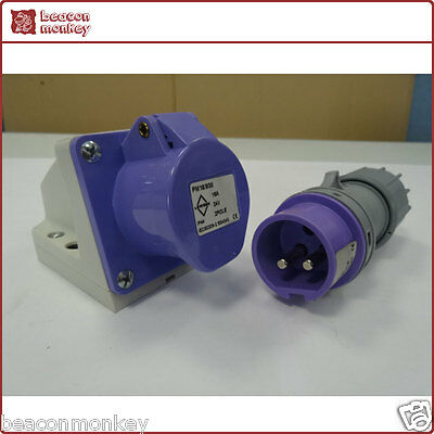 Purple 24V 16A 2 Pole/Pin Electrical Industrial Site Caravan Panel Socket Only