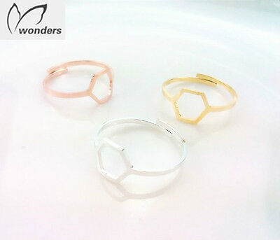 Adjustable Geometric Hexagon Midi ring, Finger, thumb ring Gold,Rose Gold,Silver