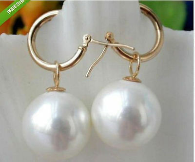 16X16MM AAA PERFECT white shell pearl earrings 14K  GOLD