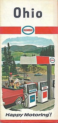 1967 HUMBLE OIL Road Map OHIO Columbus Dayton Cleveland Toledo Cincinnati Akron