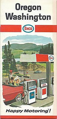 1967 ENCO HUMBLE OIL Road Map OREGON WASHINGTON Seattle Portland Spokane Rainier
