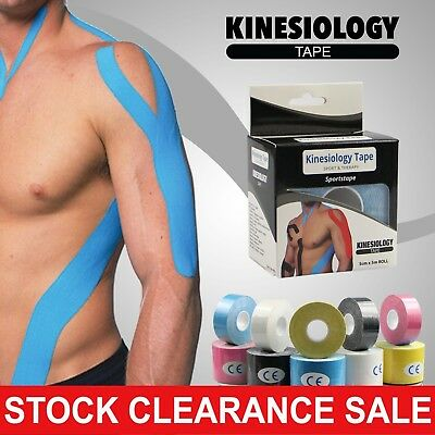6x 2.5cm*5m Rolls Kinesiology tape Elastic Sports Injury Muscle Physio Support