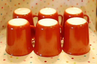 Vintage Pyrex Burnt Orange Rust Red Cinnamon Coffee Mugs Lot of 6
