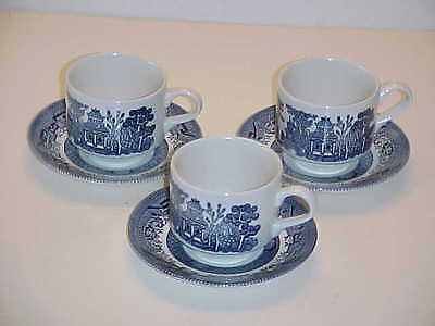 Churchill Made in England Georgian Shape Blue Willow Pattern Cup and Saucer Sets
