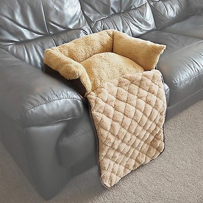 Small Quilted Brown Fleece Fold Out Pet Bed Cat/Dog Sofa/Couch/Chair Protector