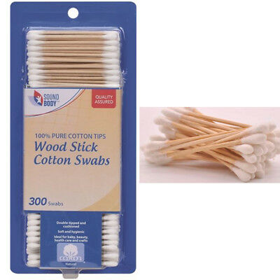 300 Ct Cotton Swabs Double Tipped Applicator Q Tip Safety Ear Wax Makeup Remover
