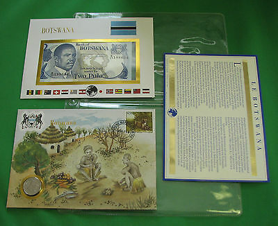 Botswana Africa  Banknote & Stamp First day Cover Mint Presentation Set French