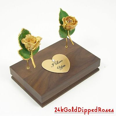 "Two 3"" 24k Gold Dipped Ivory White Roses & Stand (Free Anniversary Gift Box)"