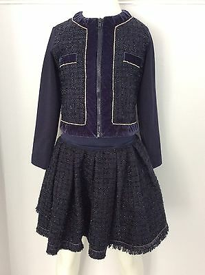 MONNALISA Set Outfit Navy Blue Girls 2 Piece Outfit Vgc Age 5 Years Skirt Jacket