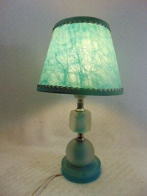 Super Vintage Chic Frosted Boudoir Table Lamp w/ Spun Fiberglass Modern Shade