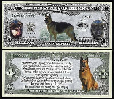 German Shepherd Dog Bill Puppy & Adult Pics, Facts on Back- Lot of 2 BILLS