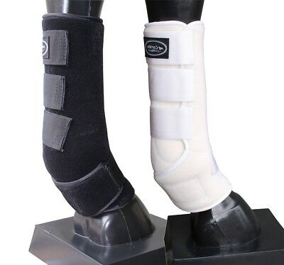 CARIBU Neoprene Tendon Boots, Superior Fabric. Reinforced. 3 Sizes. White/Black
