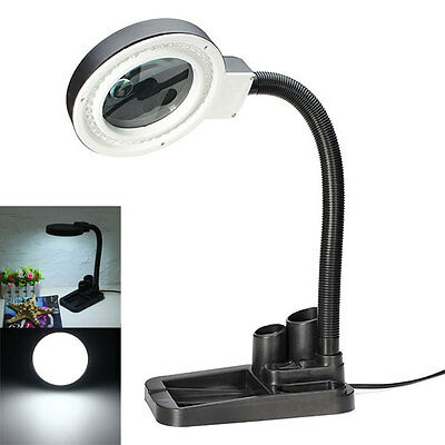 Magnifying Crafts Glass Desk Lamp W/ 5X 10X Magnifier With 40 LED Lighting Lamp