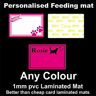 Personalised Cat Feeding Mat in Medium made from 1mm Rigid PVC - not paper/card • EUR 8,19