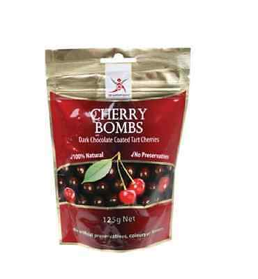 DR SUPERFOODS Cherry Bombs 125g - Tart Cherries Coated in Dark Chocolate