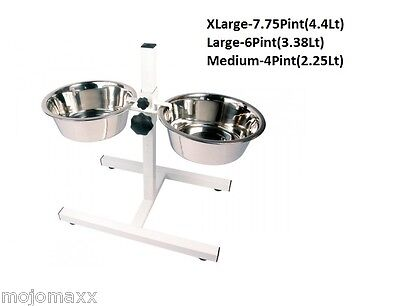 Rosewood Stainless Steel Adjustable Double Diner Set Dog Cat Pet Feeding Bowls