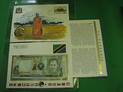 Tanzania Banknote UNC & Stamp First day Cover Mint Presentation Set French