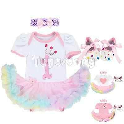 3PCS Girls Baby 1st Birthday Romper Outfit Party Headband Tutu Dress Jumpsuits