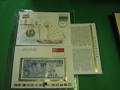 Singapore Banknote UNC & Stamp First day Cover Mint Presentation Set French