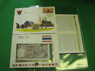 Thailand Banknote UNC & Stamp First day Cover Mint Presentation Set French