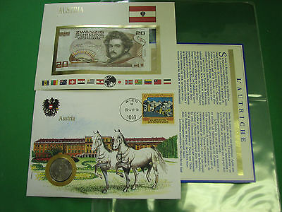 Austria Banknote UNC & Stamp First day Cover Mint Presentation Set French