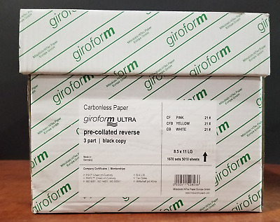 8.5 x 11 3 Part GiroForm Digital Carbonless Paper Reverse 1,670 Sets 5010 Sheets