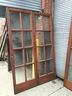 "Set 8' Bifold French Doors Antique Original Finish Salvage 96""x78"" (or 2x 48"")"