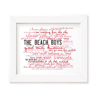 `Zephyr` THE BEACH BOYS Art Print Typography Album Song Lyrics Signed Poster