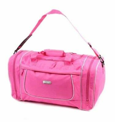 Womens Pink Overnight Weekend Gym Bag Ladies Girls Sports Travel Holdall