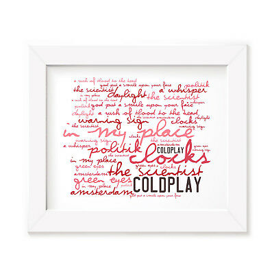 `Zephyr` COLDPLAY Art Print Typography Album Song Lyrics Signed Wall Rock Poster