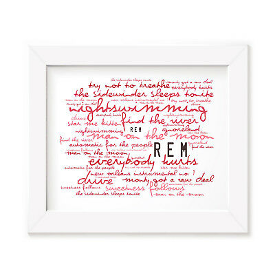 `Zephyr` REM Art Print Typography Album Song Lyrics Signed Numbered Wall Poster