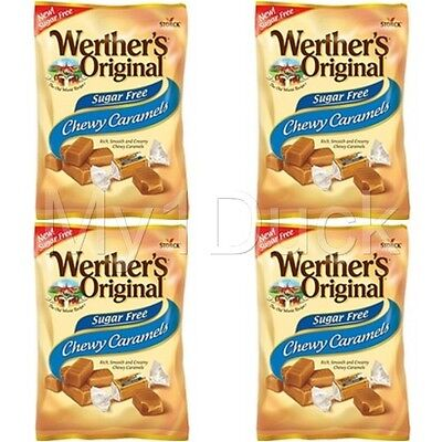 Werther's Original Sugar Free Chewy Caramels ~ 2.75 oz.  ~ (4-PACK)