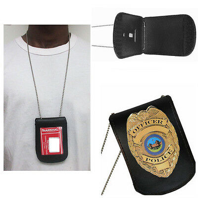 Leather Police Detective Badge Holder On Belt Neck Hanger Chain Law Security New