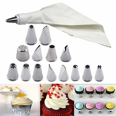 PRO Pastry Icing Piping Bag Nozzle Fondant Cake Cupcake COOL Decorating Set Tool
