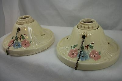 Pair of Antique 1940's Porcelier Light Ceiling Fixtures VTG Porcelain Chandelier