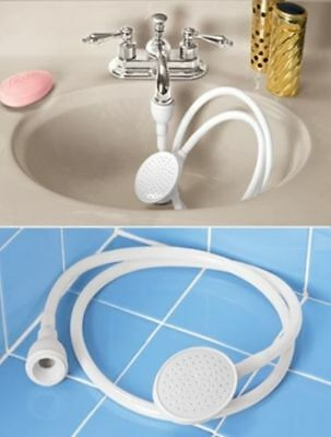 SINGLE ONE TAP FITTING SHOWER BATH HEAD 1.5m HOSE SPRAY HAIR WASH pvc long life