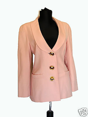 VTG 80s Genny Italy Pale Pink Light Wool Blazer Jacket Oversized Gold Buttons 6