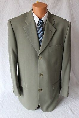 BACHRACH Men's Olive Green Italy 94% Wool Suit 42R W 32X26
