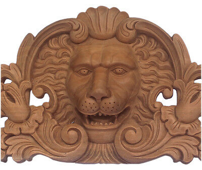 Majestic Lion Head Pediment Crest With Pierced Foliage Unfinished