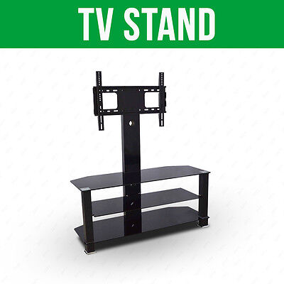 Tempered Black Glass TV Stand  for 32 to 55 Inches Plasma LCD TV W/ Bracket