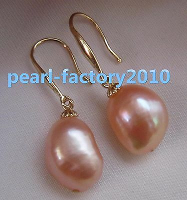 shiny AAA16x12mm South Sea pink Baroque Pearl Earrings 14K YELLOW GOLD