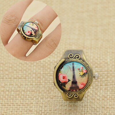 Finger Ring Watch Vintage Eiffel Tower Pattern Alloy Pocket Watch Women Gift