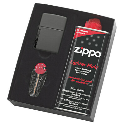 New Zippo Matte Black Gift Box With Fluids And Flints Free Postage 90218Gp